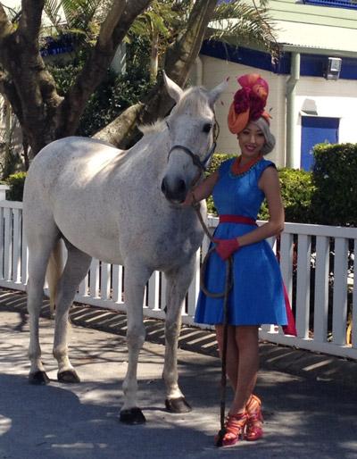 Race dress white horse