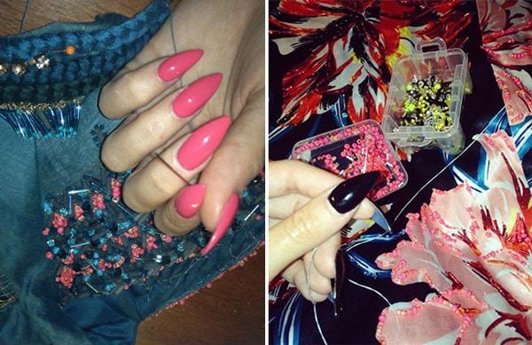 Pink black nail polish nails matching