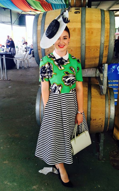 Floral blouse stripe skirt clashing prints
