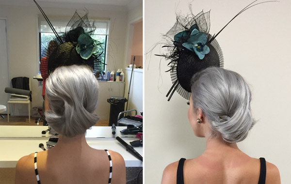 hair with millinery hat