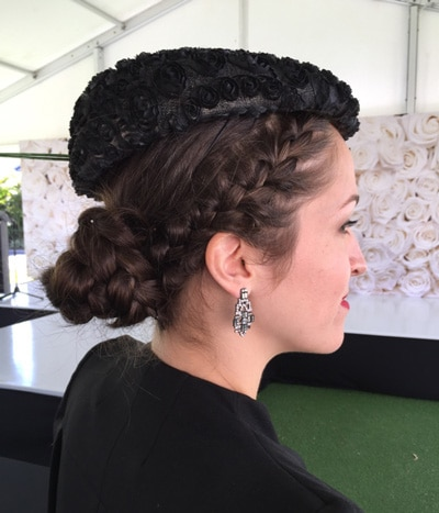 hair braid with fascinator