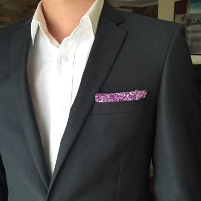 classic pocket square fold purple