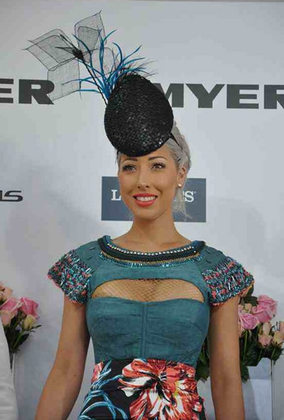 blue biot feathers mesh petals revamped hat