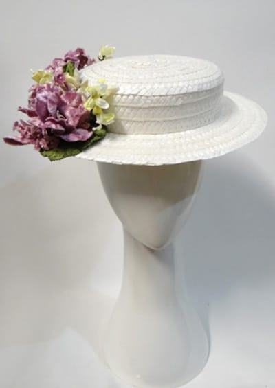peacock millinery boater hat