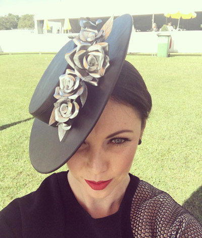 Leather boater autumn millinery hat
