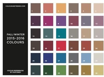 Pantone winter colour chart
