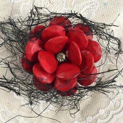 homemade red flower brooch