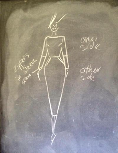 blackboard chalk fashion sketch illustration