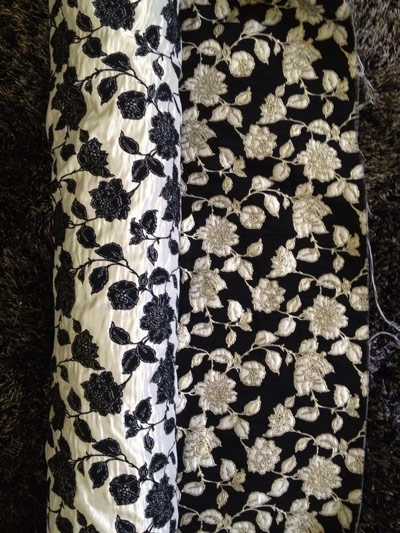black and white floral fabric