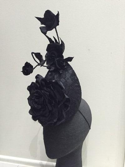 black flower floral fascinator millinery