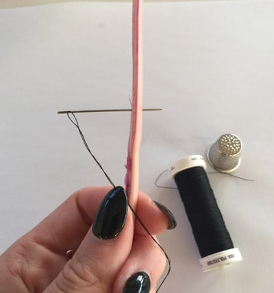 Attaching sewing quill