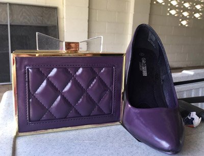 purple bag and shoes