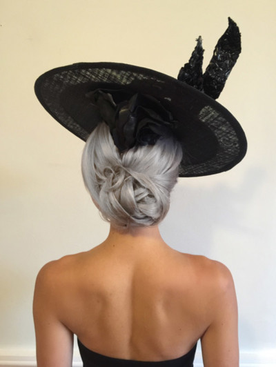 Hairstyle with fascinator