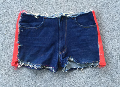 adding side panels to denim shorts