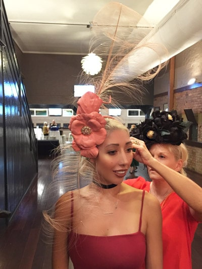 pink leather flower headpiece fascinator