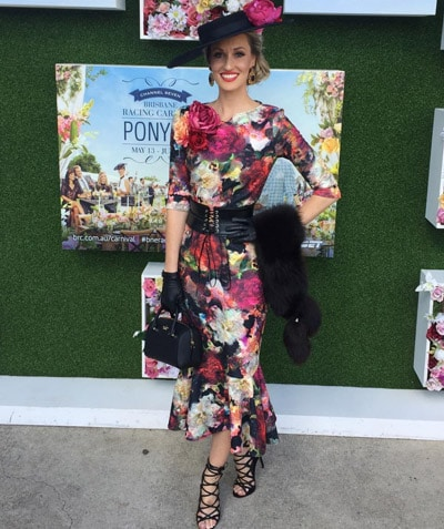 bright floral stand out races outfit
