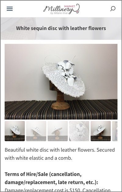 white boater disc millinery