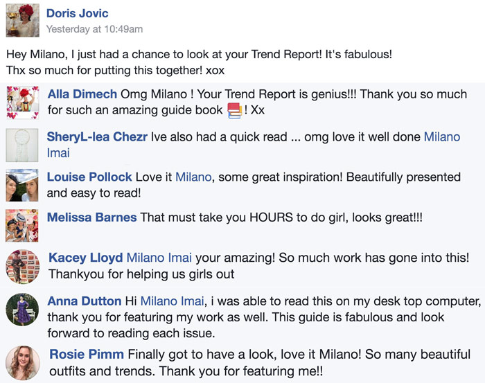 testimonials fan comments love milano's guide
