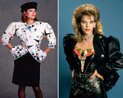 80s models wearing tops with shoulder pads