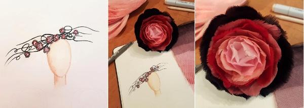 Belinda's initial sketch of millinery hat design