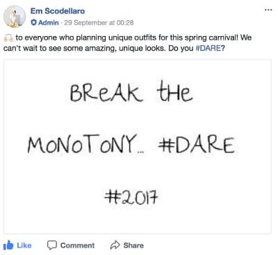 Break the monotony #dare #2017 post