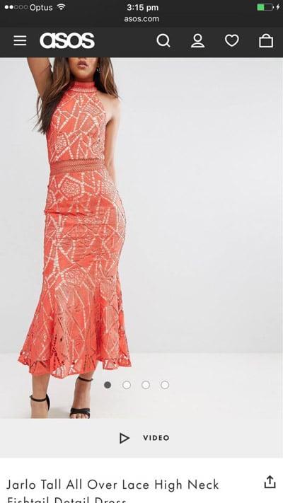 coral race dress