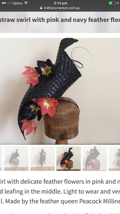 millinery navy swirl fascinator
