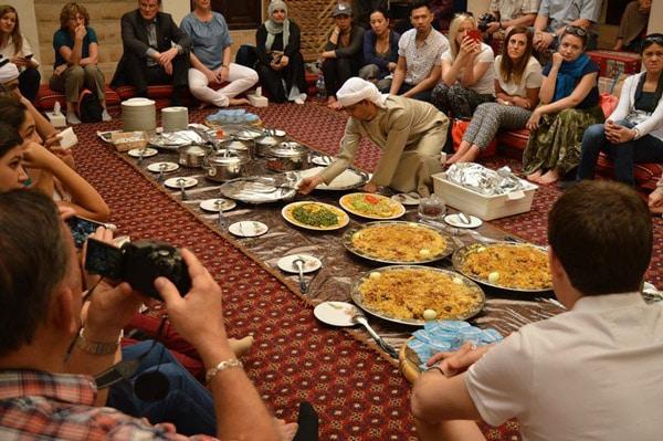 group dinner on floor