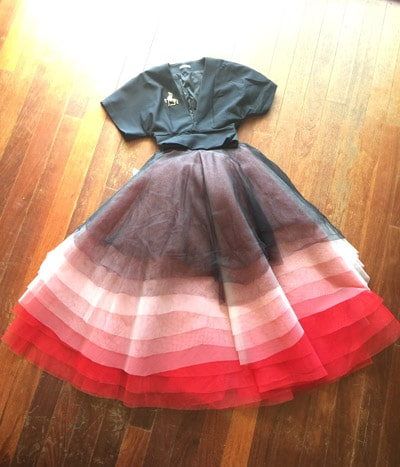 black red pink tulle skirt