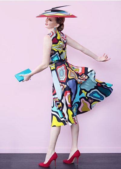 colourful print dress bright accessories