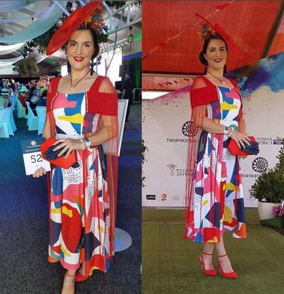 colourful dress with red accessories