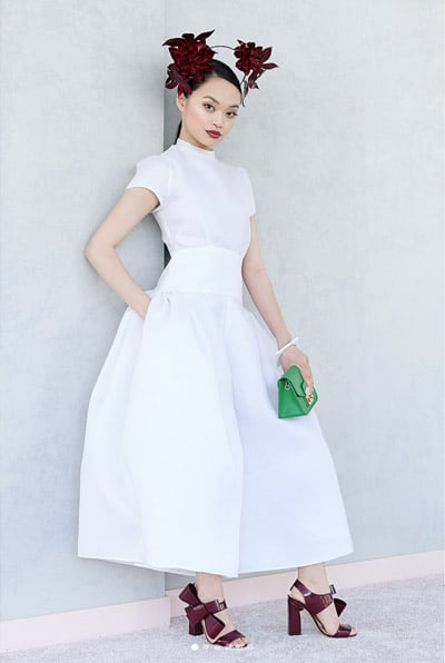 white dress green clutch moroon millinery shoes