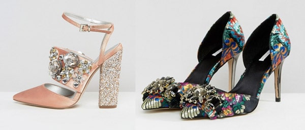 asos high heel shoes beads bling shiny