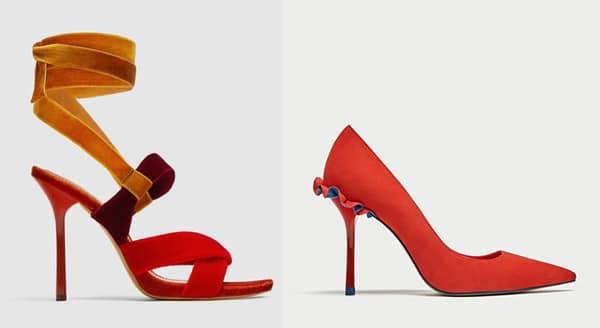 zara shoes red high heels