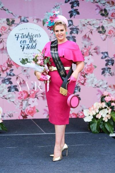 Dahyna Heenan wearing pink racewear