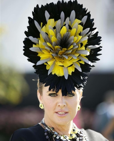 Dahyna-Heenan with black and yellow millinery hat
