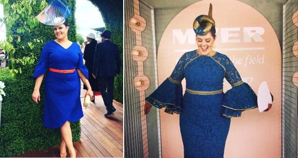 Klara Coates wearing blue racewear dress