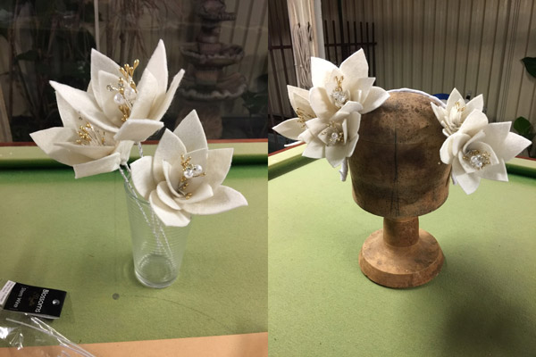 cream felt homemade millinery