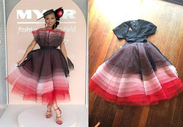 tulle pink black red dress