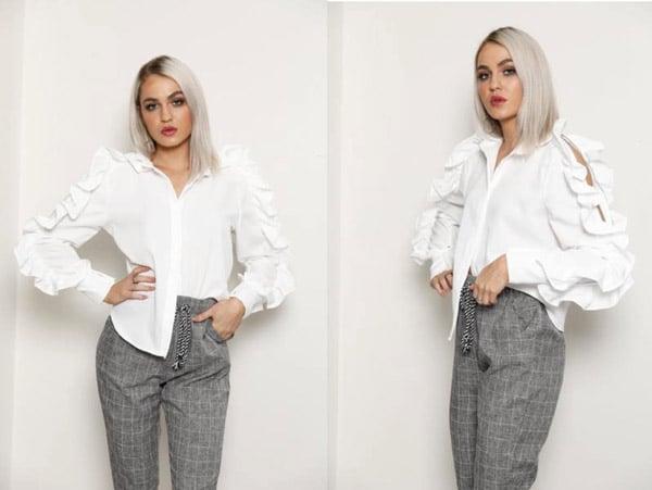 harvey the label white ruffle shirt