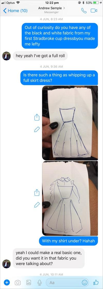messaging designer friend