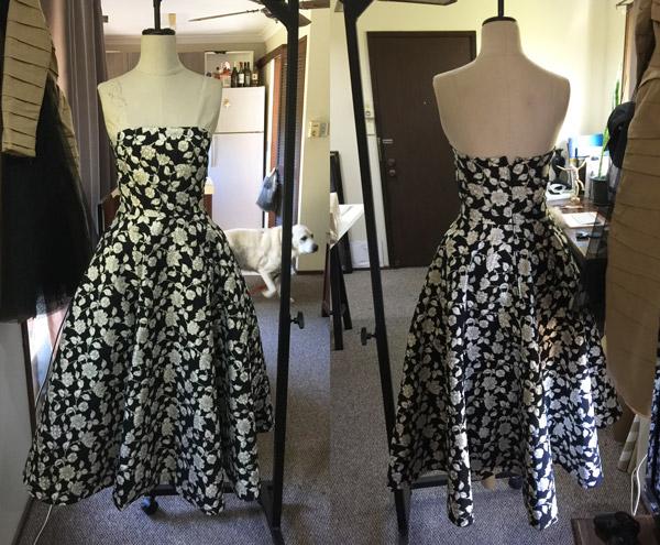 black white floral print dress