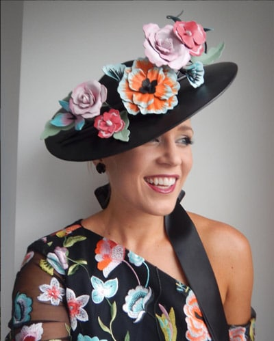 black dress colourful flower embellishments