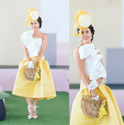 yellow and white race day outfit