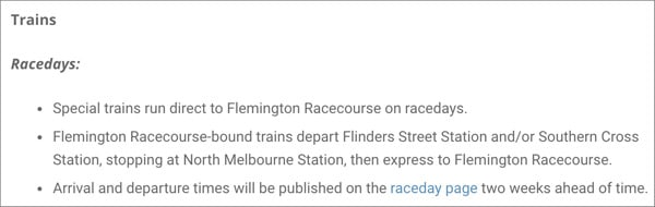 Train schedule on melbourne cup day