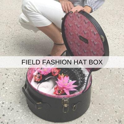 hatbox luggage fascinator millinery