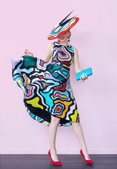 wow colourful bright spring race day outfit