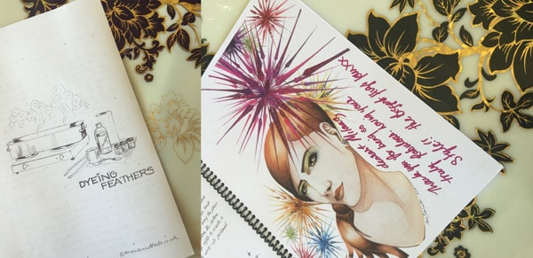 millinery workshop sketch book art