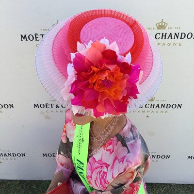 amanda pink millinery fascinator with flower