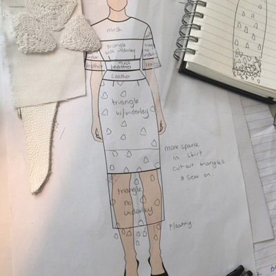 outfit design sketch material fabric